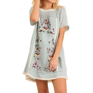 Umgee Blue Floral Embroidered Lace Boho Dress